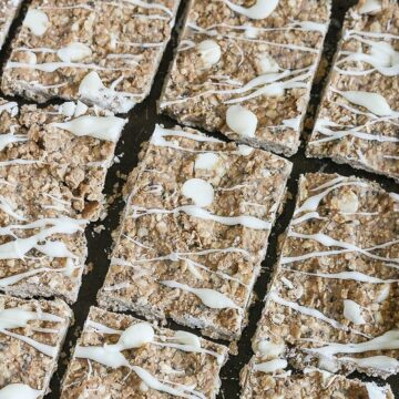 These No Bake White Chocolate Protein Bars are simple to make and packed with protein! I lee these in my refrigerator at all times! #vegan #dairyfree #glutenfree