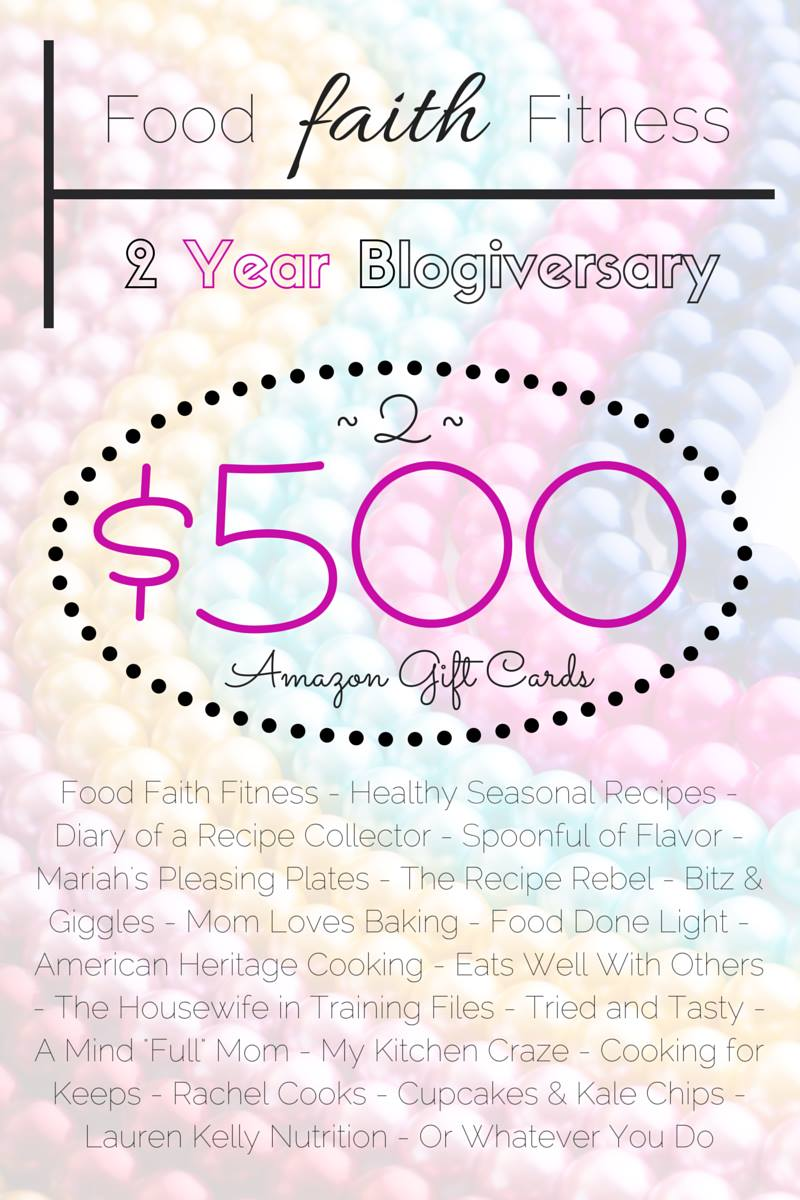 $1000 Giveaway for Food, Faith Fitness Anniversary via Lauren Kelly Nutrition