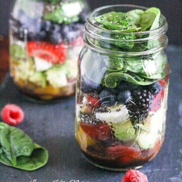 Mixed Berry Chopped Mason Jar Salad and My Trip to the Aldi Test Kitchen