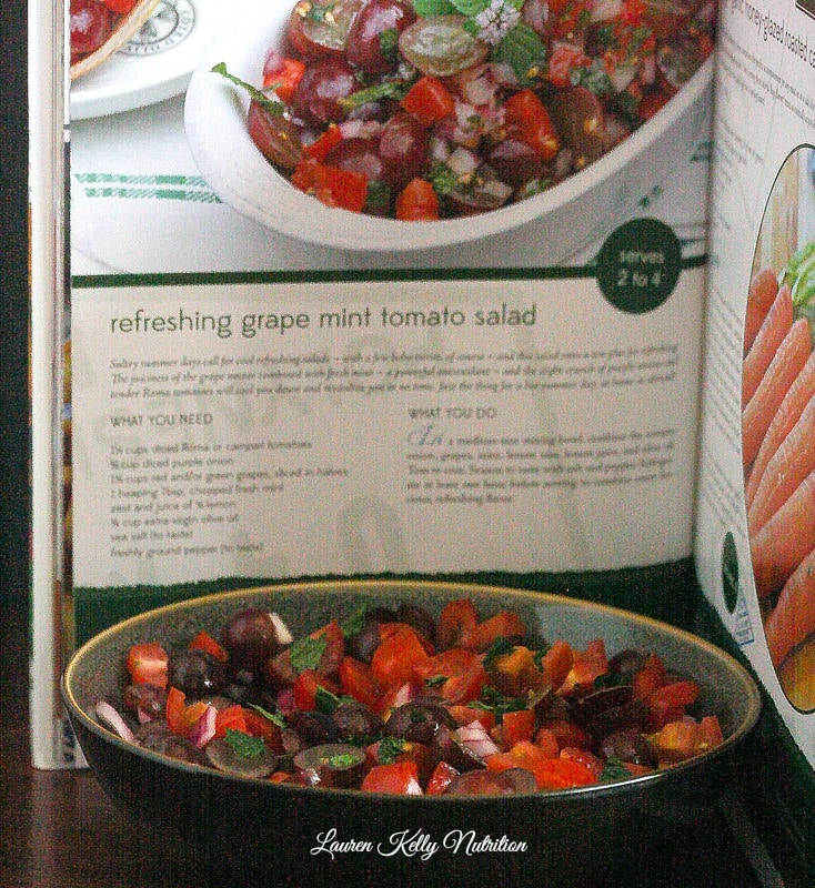 Refreshing Grape Mint Tomato Salad from Ally's Kitchen Cookbook