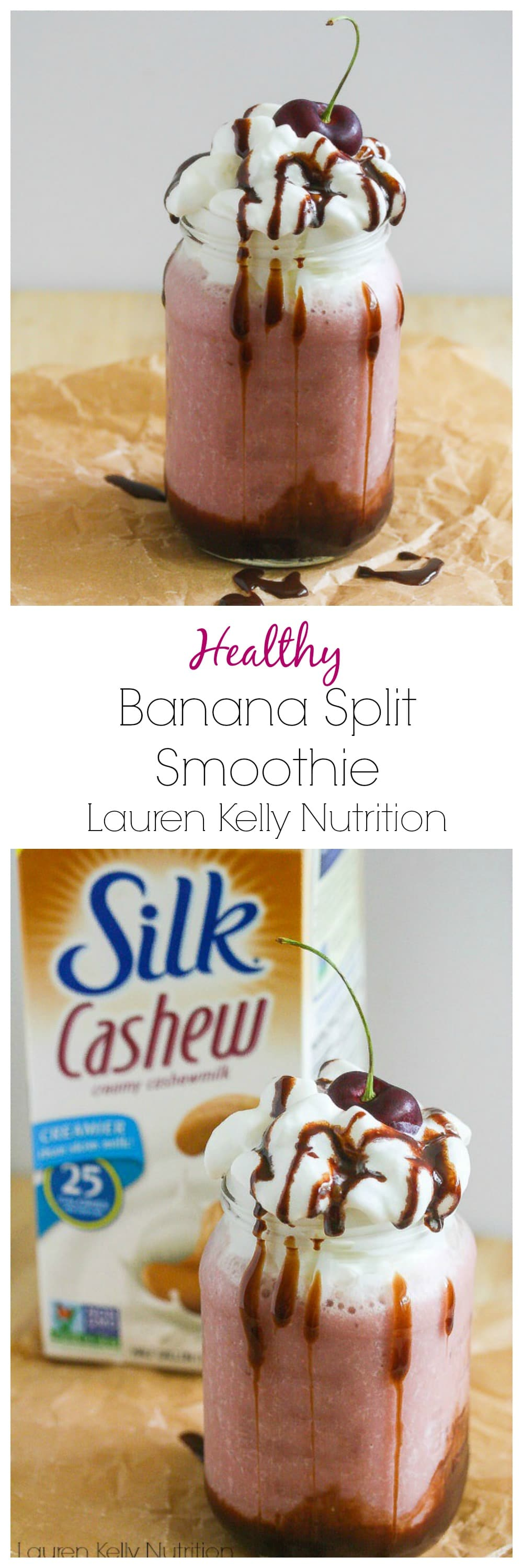 This Banana Split Smoothie is vegan, dairy-free and gluten free! Enjoy this banana split guilt-free! @LoveMySilk #SilkCashew #VanillaCashew