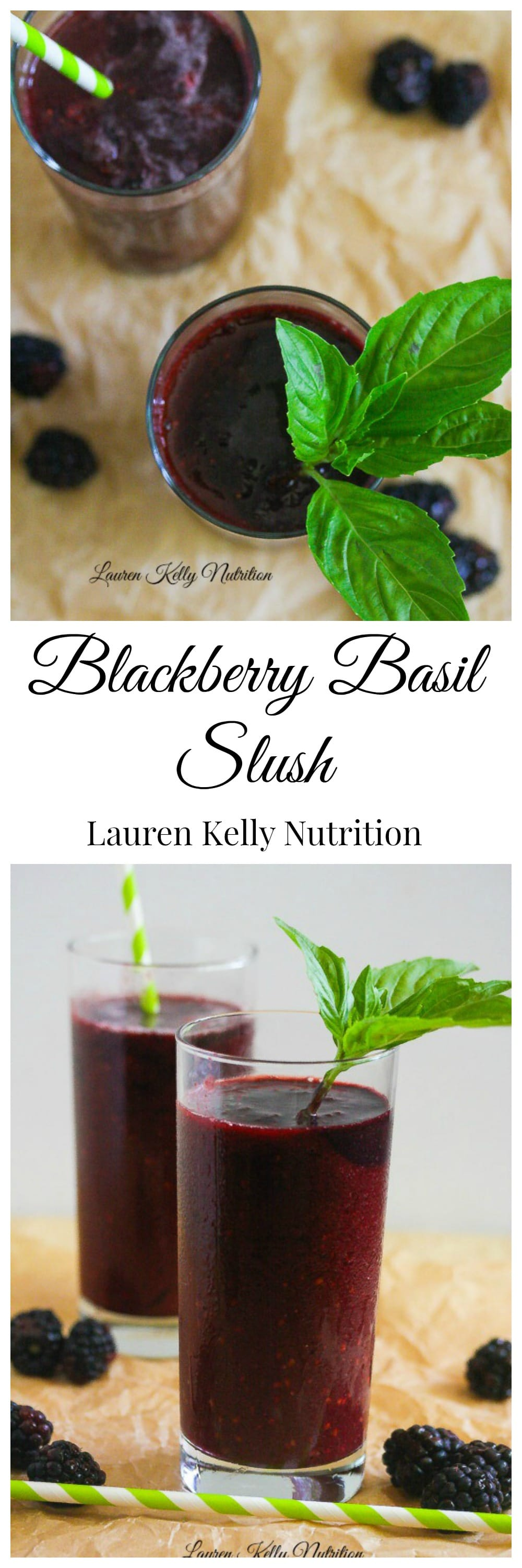 This Blackberry Basil Slush is the perfect, healthy way to cool you off this summer! #sugarfree #vegan