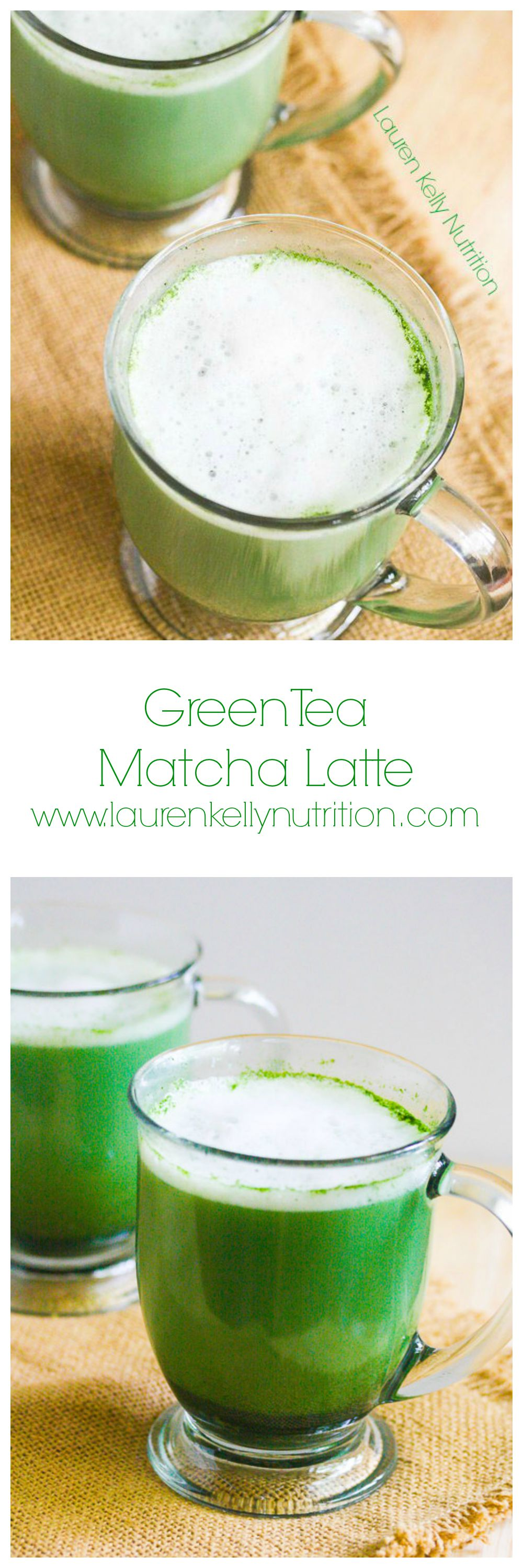 These healthy Green Tea Matcha Latte is filled with antioxidants and is lightly sweet.  This can be served hot or cold! www.laurenkellynutrition.com