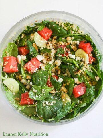 Watermelon Feta Salad from Lauren Kelly Nutrition @Peapoddelivers