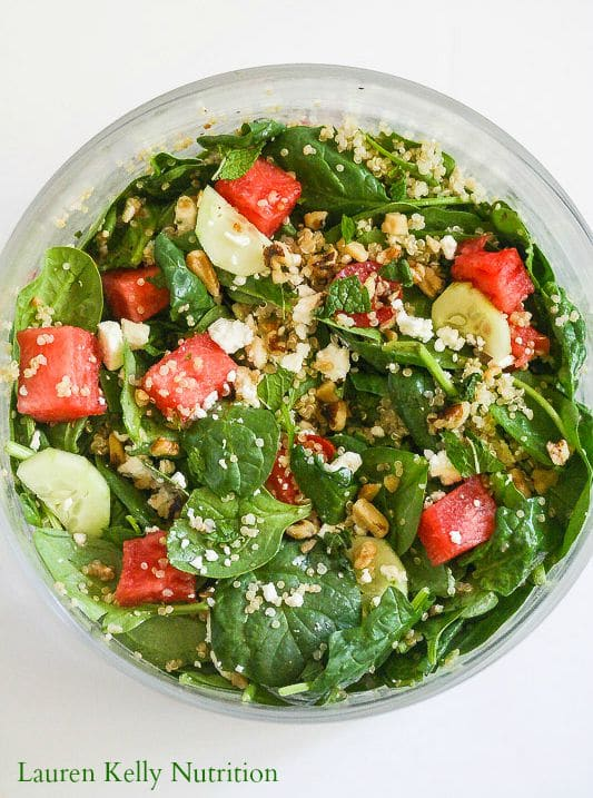 Watermelon Feta Salad from Lauren Kelly Nutrition @Peapoddelivers