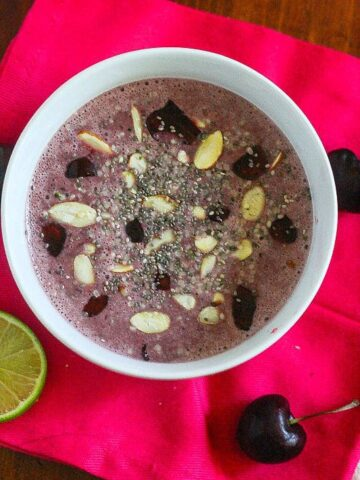 This Cherry Lime Smoothie Bowl has all of your favorite flavors in one, big, healthy bowl of deliciousness! #vegan #dairyfree #glutenfree
