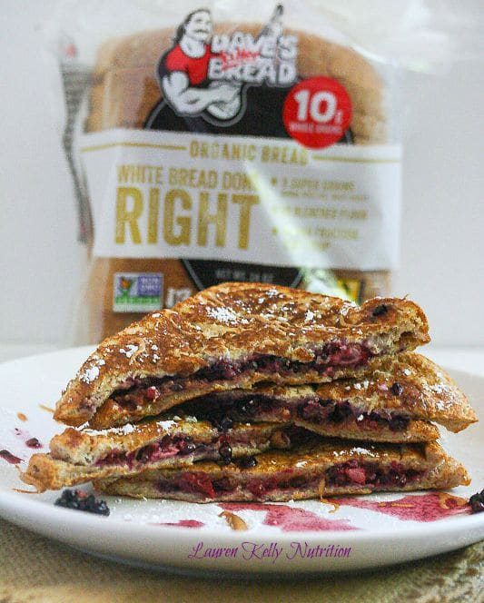 Smashed Blackberry and Peanut Butter French Toast Sandwich from @killerbreadman and Lauren Kelly Nutrition
