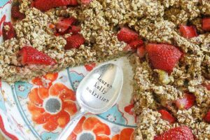 Strawberry Banana Baked Oatmeal {Vegan, Gluten-Free, Dairy-Free, Make Ahead}