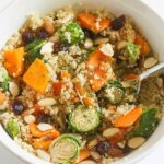 This Brussels Sprout Sweet Potato Quinoa Bowl is packed with protein and ready in 30 minutes! #vegan #glutenfree