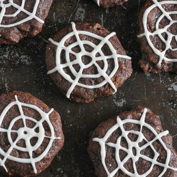 Close up of chocolate spiderweb cookies