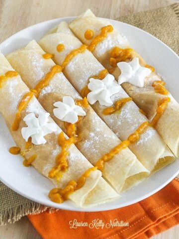 These Pumpkin Filled Crepes are so delicious. gluten-free and made without any refined sugars! #glutenfree