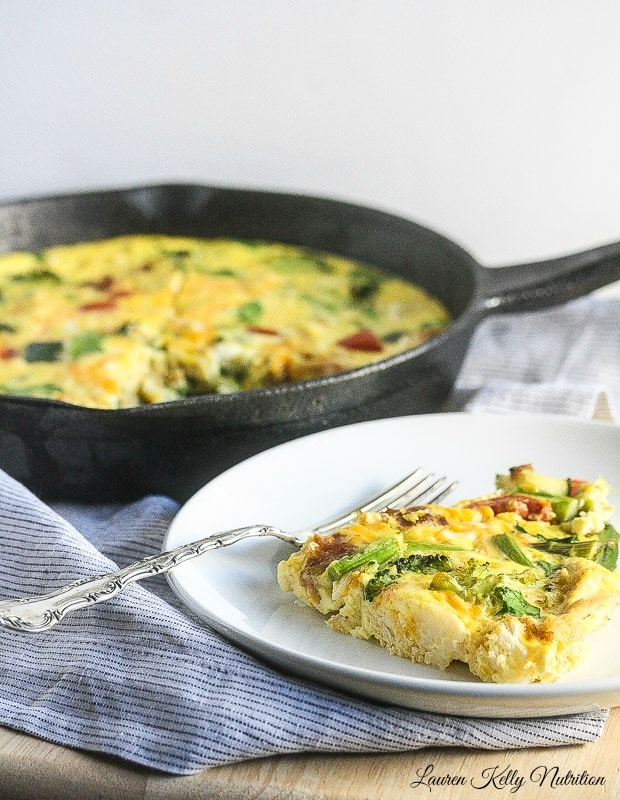 This Roasted Vegetable Turkey Frittata can easily be made with leftovers! By Lauren Kelly Nutrition
