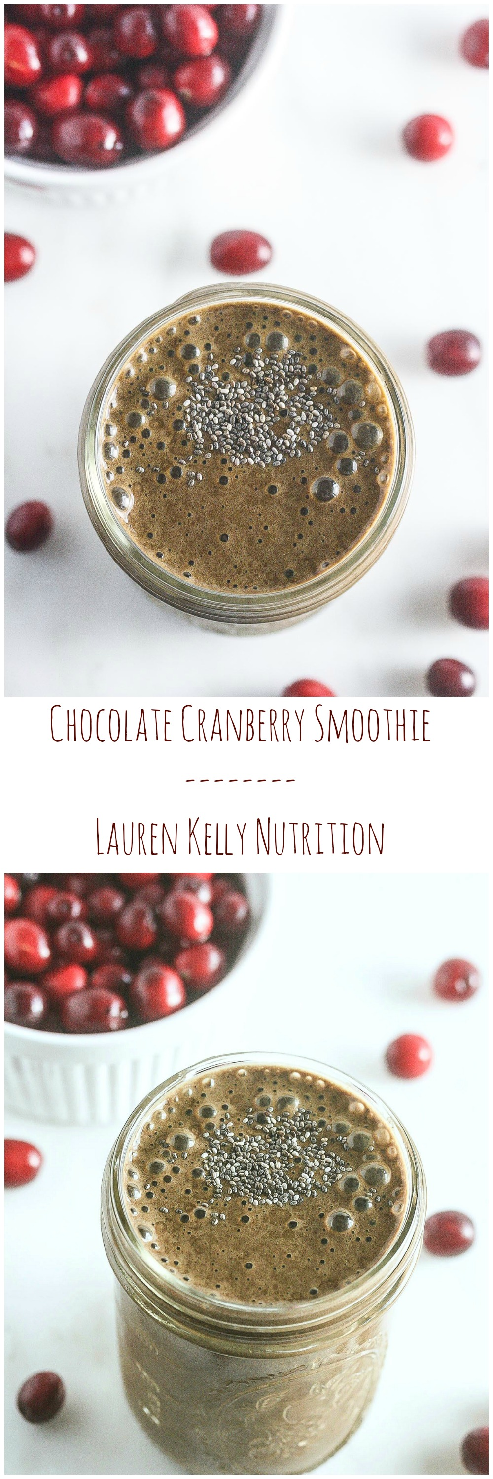 This Chocolate Cranberry Smoothie is packed with vitamins and antioxidants and is vegan, gluten-free and sugar-free! www.laurenkellynutrition.com