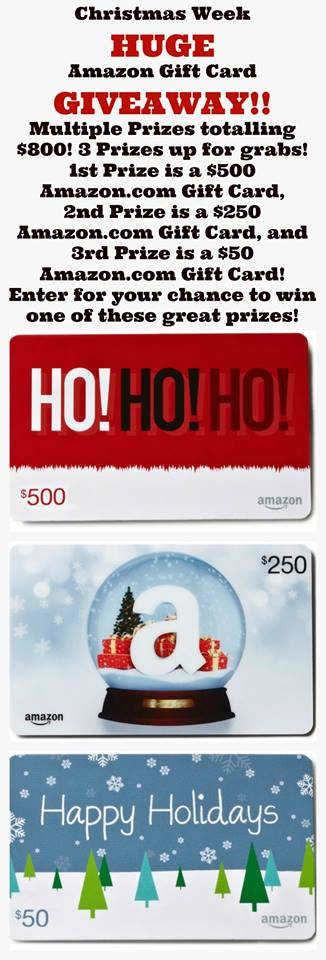 HUGE Amazon Gift Card Giveaway! #ChristmasWeek