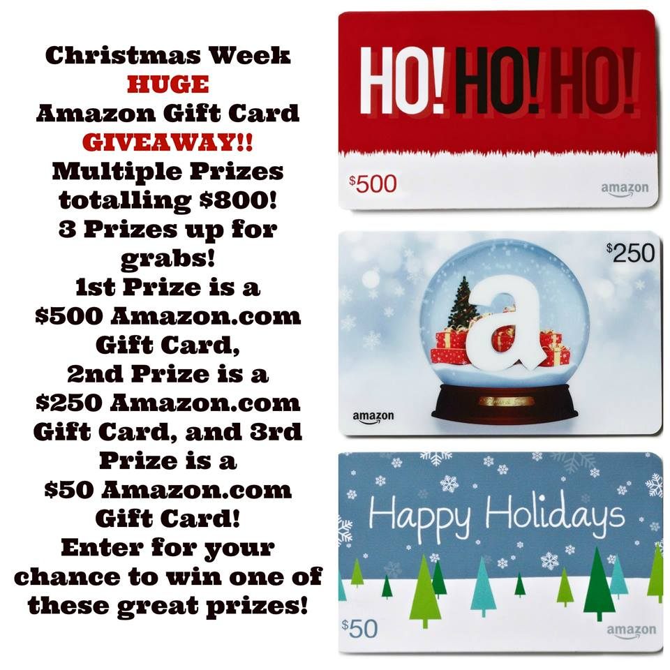 A HUGE Giveaway! We are giving away THREE Amazon Gift Cards! #ChristmasWeek