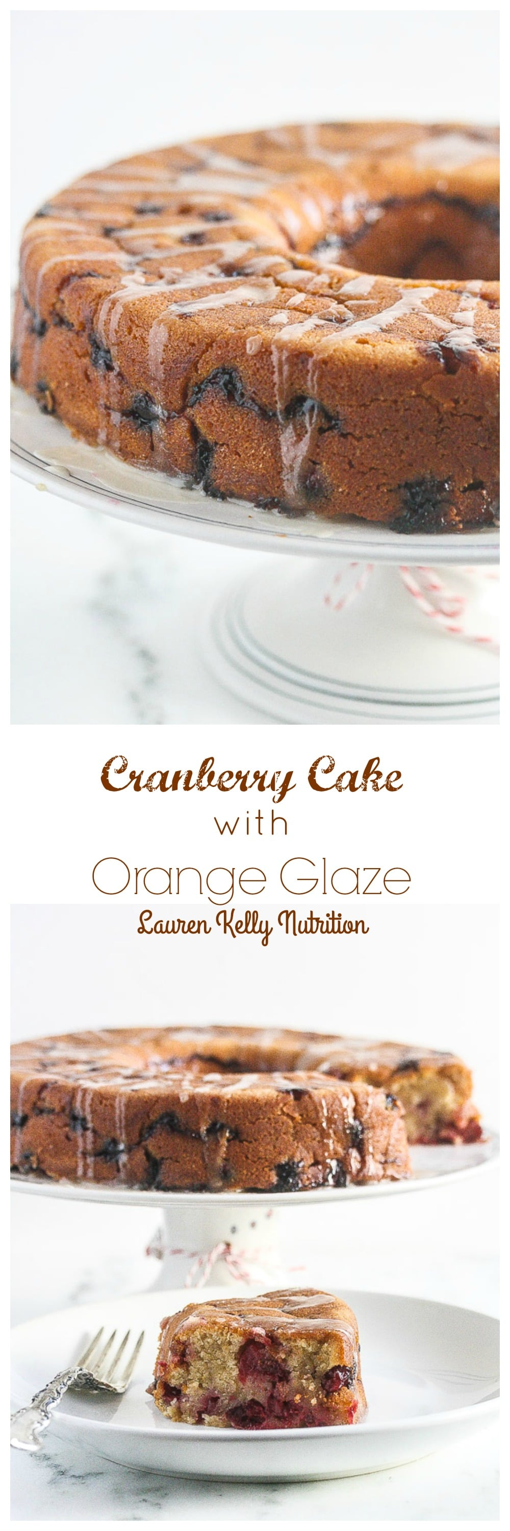 This Cranberry Cake with Orange Glaze is lightened up a bit, but still crazy delicious! From Lauren Kelly Nutrition