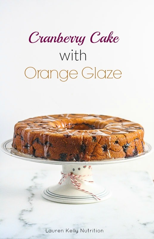 This Cranberry Cake with Orange Glaze is lightened up a bit, but still crazy delicious! #ChristmasWeek
