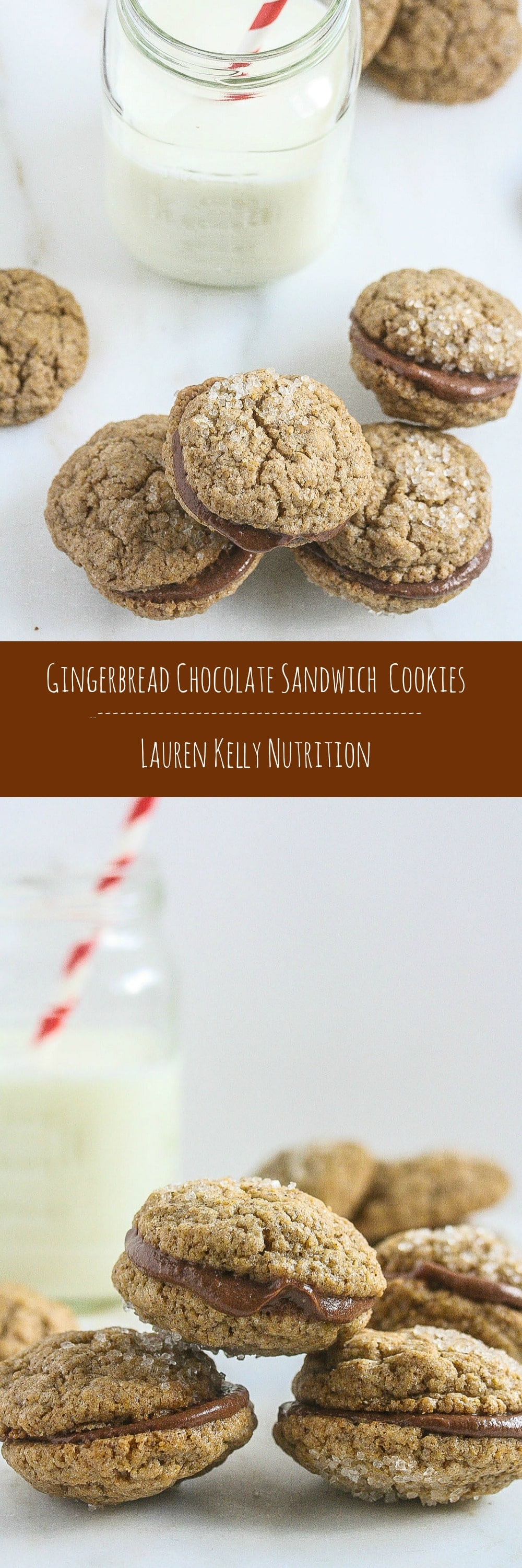 Healthier Gingerbread Chocolate Sandwich Cookies from Lauren Kelly Nutrition #ChristmasWeek