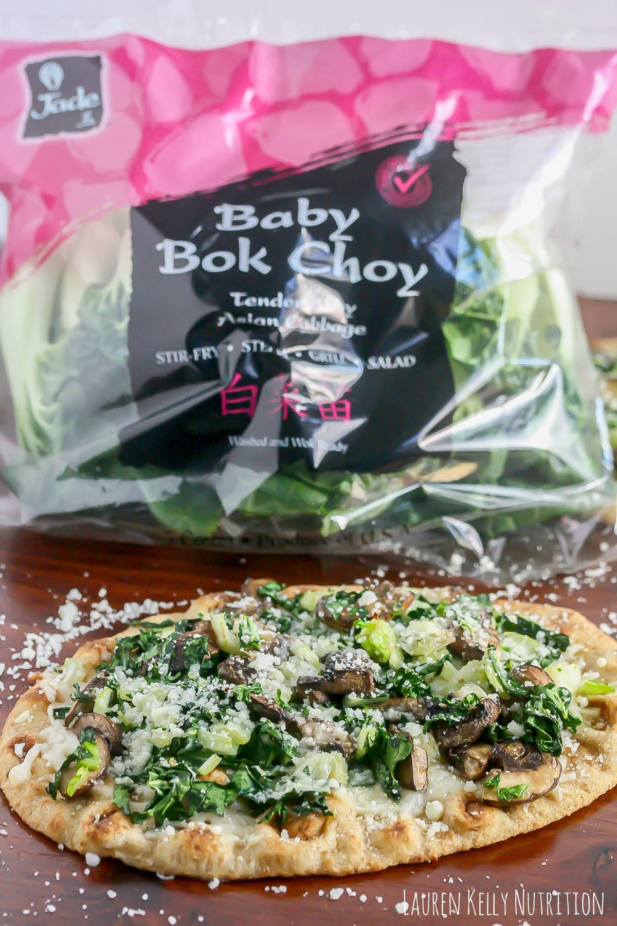 This Bok Choy Mushroom Pizza is light, crispy and packed with flavor! www.laurenkellynutrition.com