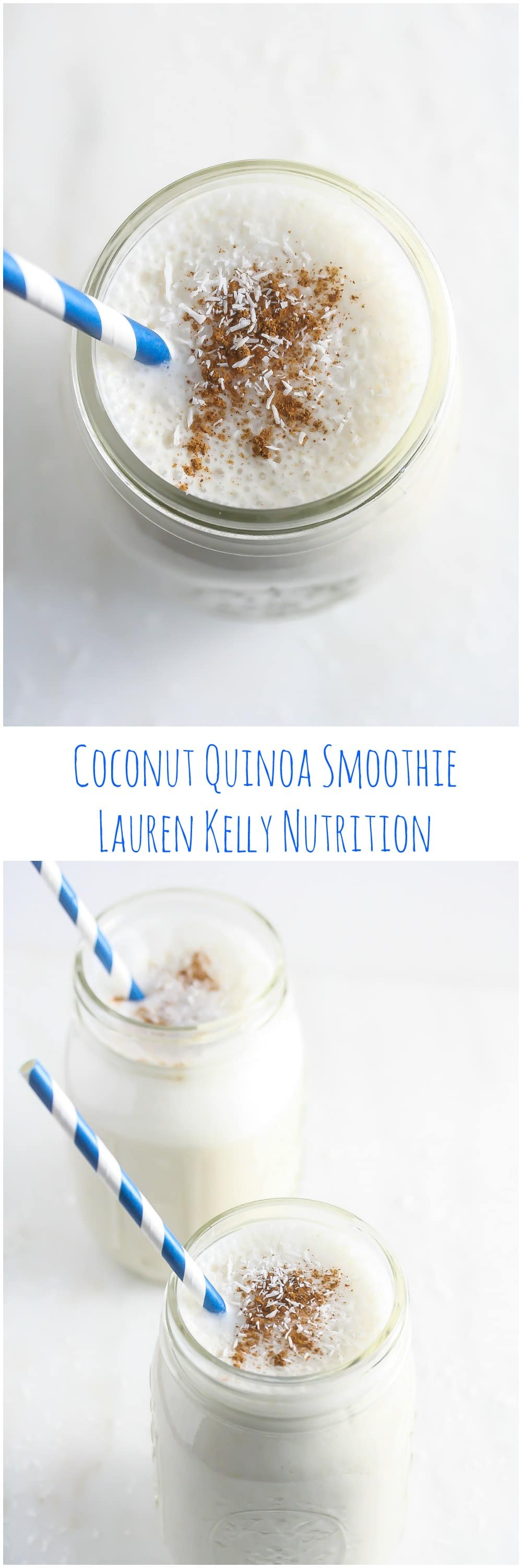 This Coconut Quinoa Smoothie is packed with protein and is the perfect way to start the day! #vegan