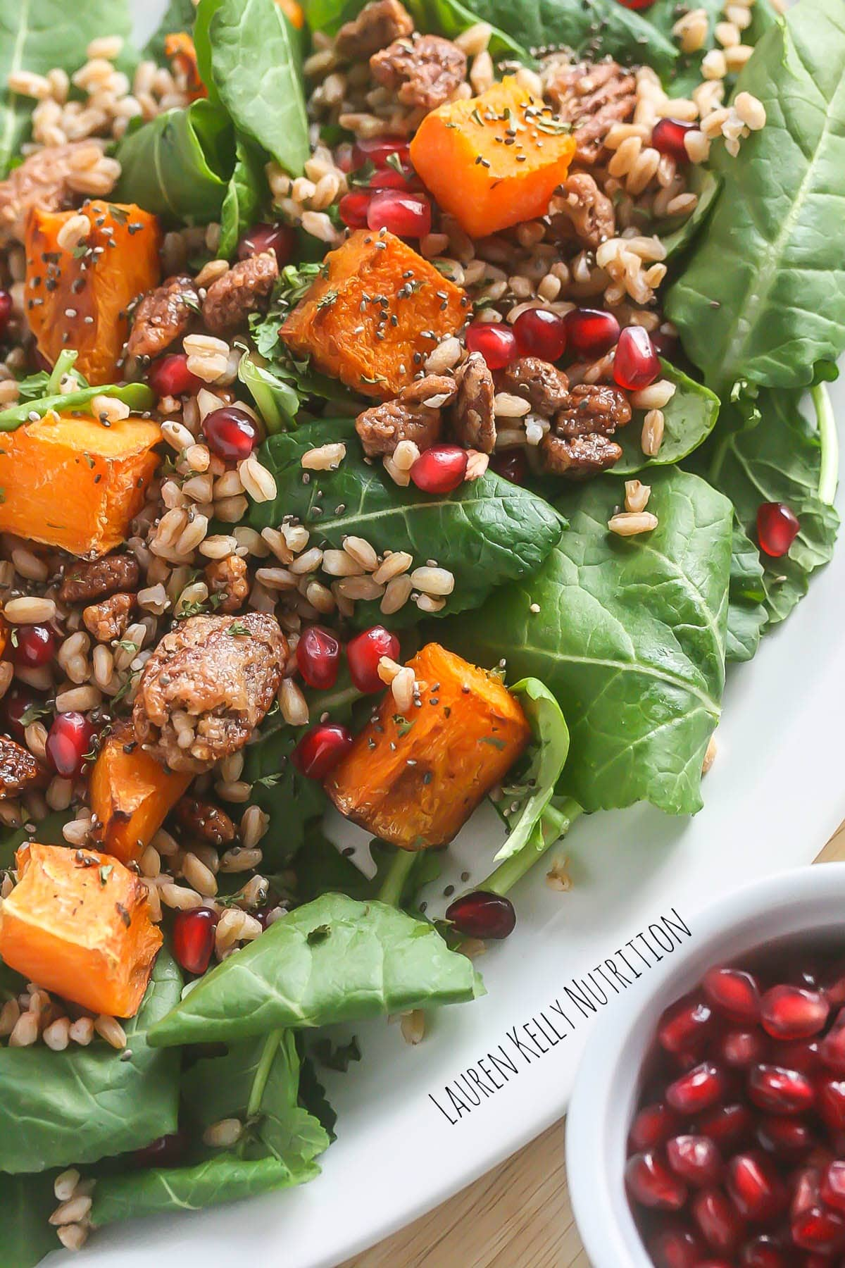 Winter Kale Salad with Butternut Squash and Farro from Lauren Kelly Nutriiton