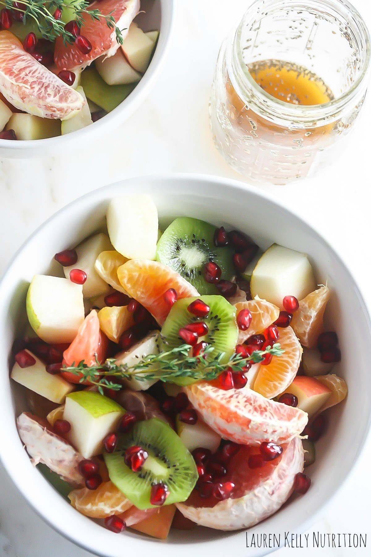 Winter Fruit Salad with Ginger Chia Dressing from Lauren Kelly Nutrition