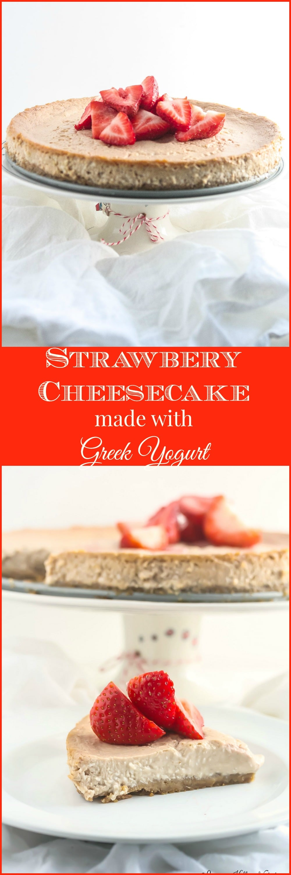This Strawberry Cheesecake is lightened up, but is still delicious and simple to prepare. From Lauren Kelly Nutrition