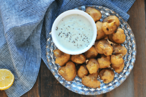 Baked Cauliflower Bites with Tzatziki Dipping Sauce