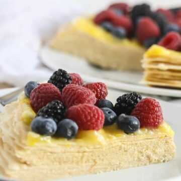 Buttercream Crepe Cake with Lemon Curd Topping