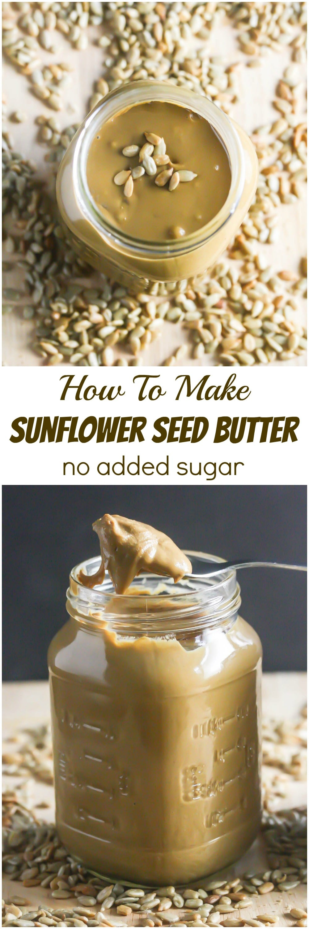 Homemade Sunflower Seed Butter is so easy to make and this one has no added sugar! www.laurenkellynutrition.com