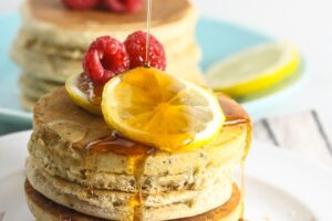 Lemon Chia Seed Pancakes {Vegan, Whole Grain}
