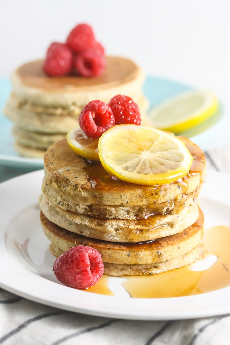 These Vegan Lemon Chia Seed Pancakes are light, fluffy and simple to make! From Lauren Kelly Nutrition