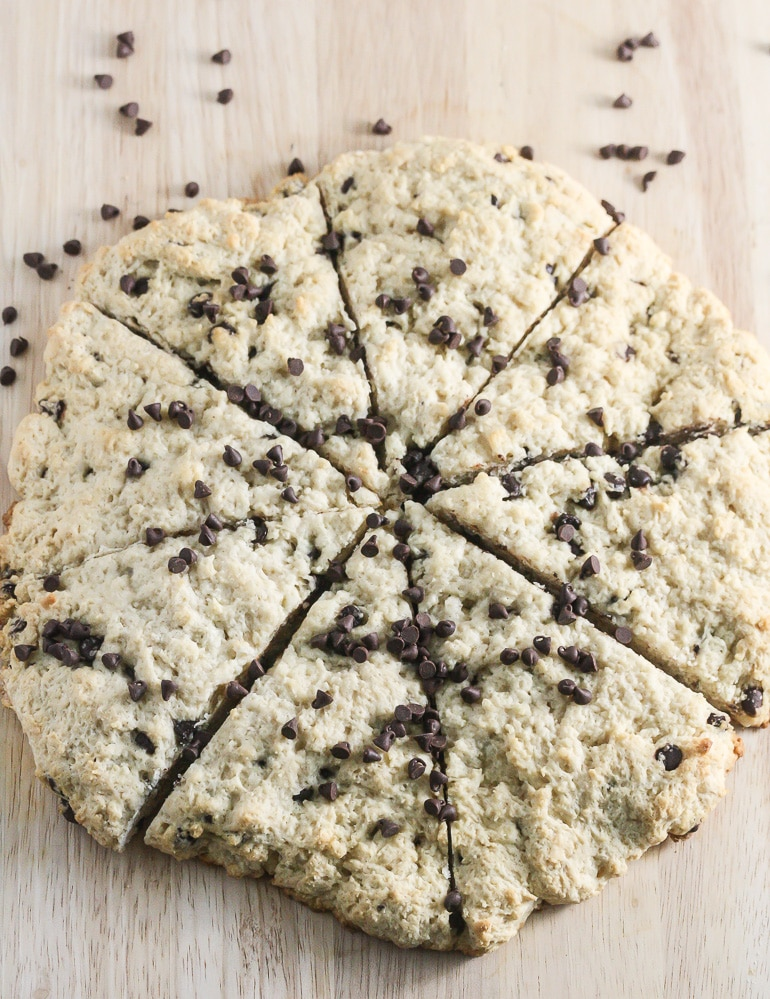 Lightly sweetened, flaky and delicious, you will fall in love with these simple to make Gluten Free Chocolate Chip Scones from Lauren Kelly Nutrition.