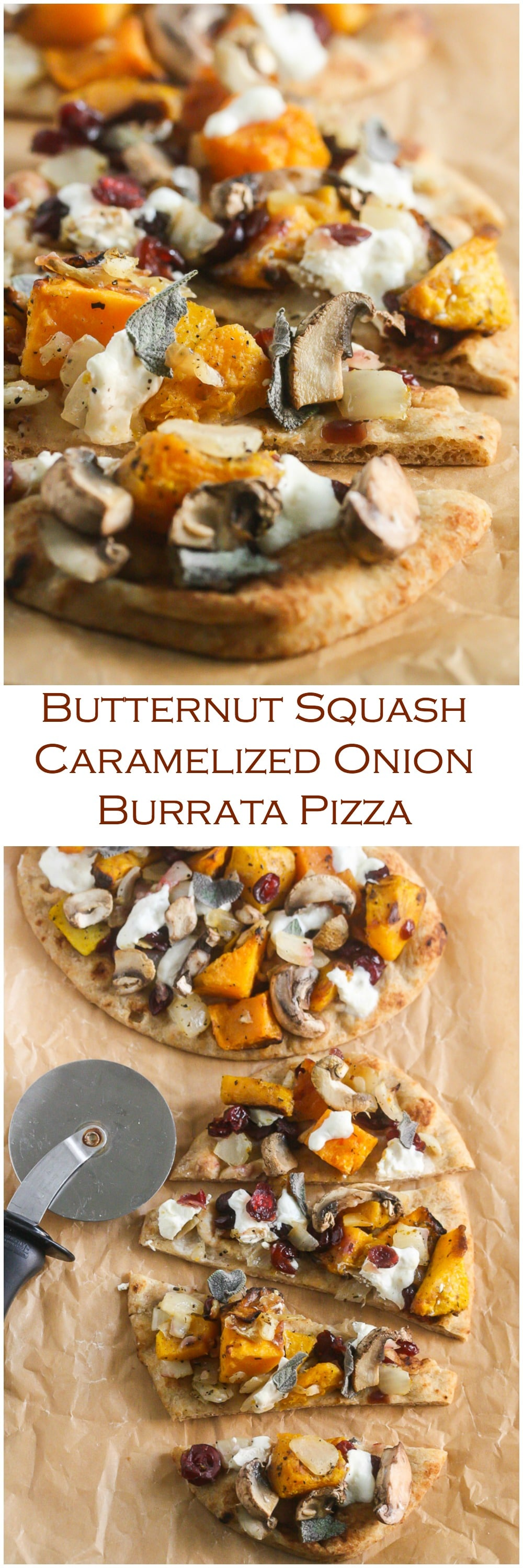 Butternut Squash Caramelized Onion Burrata Pizza from Lauren Kelly Nutrition
