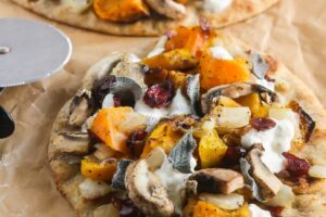 Butternut Squash Caramelized Onion Burrata Flatbread Pizza {Vegetarian, Easy}