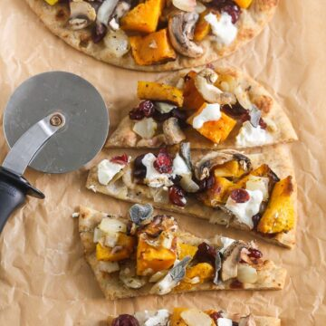 Butternut Squash Caramelized Onion Burrata Pizza from Lauren Kelly Nutrition