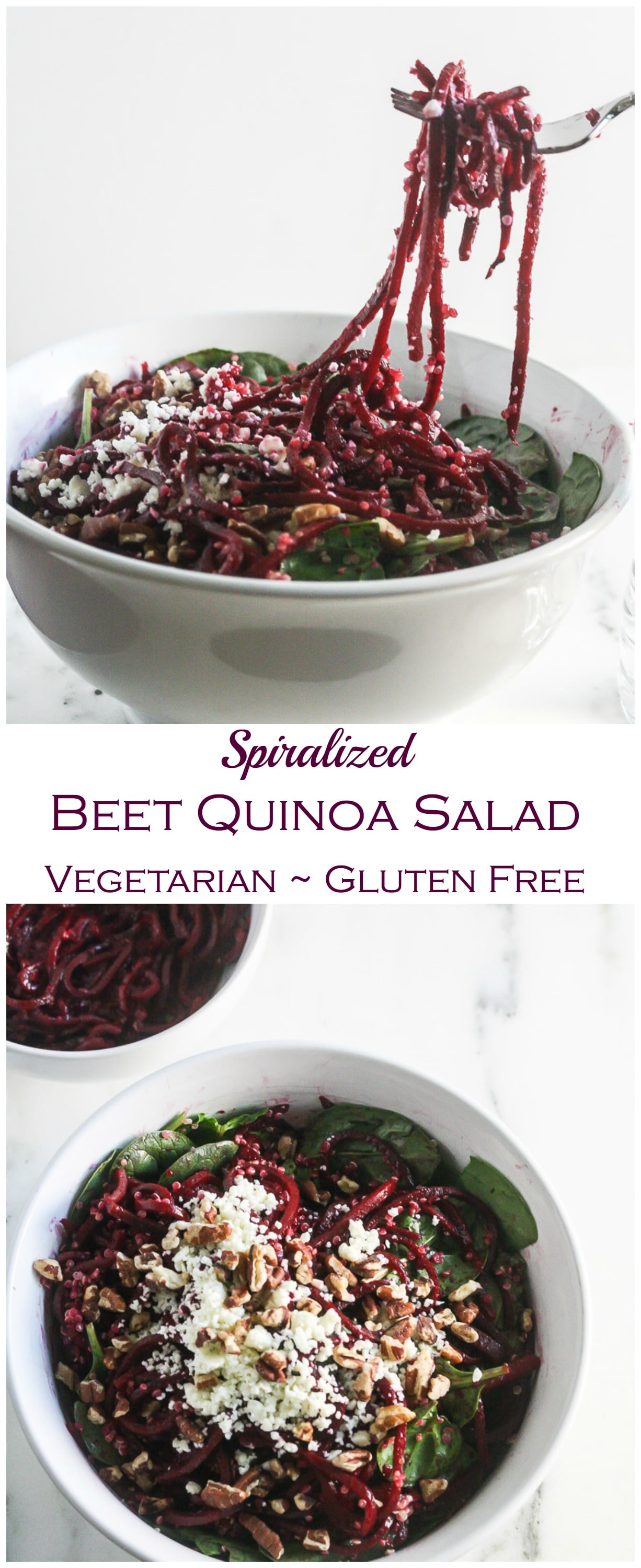 This Spiraled Beet Quinoa Salad is made with wholesome ingredients and is packed with protein, vitamins and minerals! From Lauren Kelly Nutrition