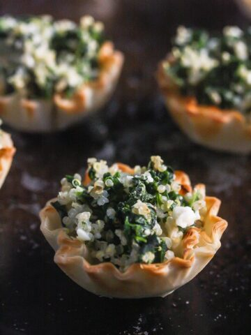 Spinach Quinoa Feta Make Ahead Phyllo Bites from Lauren Kelly Nutrition