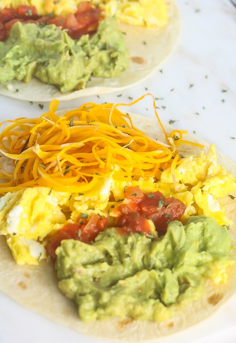 These delicious, healthy Sweet Potato Egg Tacos with Citrus Guacamole are from Superfood Weeknight Meals.