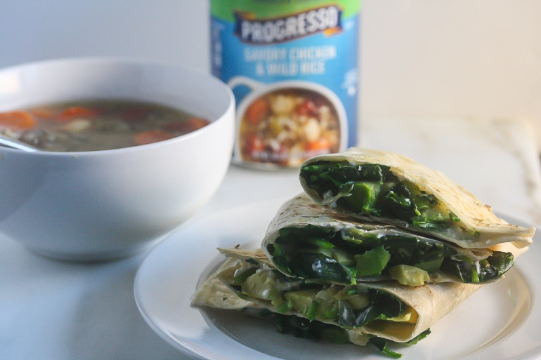 These Spinach Avocado Goat Cheese Quesadillas are the perfect pairing to your favorite Progresso soup! #ad #SoupYourWay