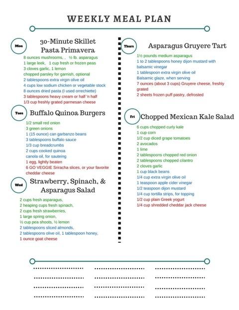 Healthy Weekly Meal Plan 3.25.17