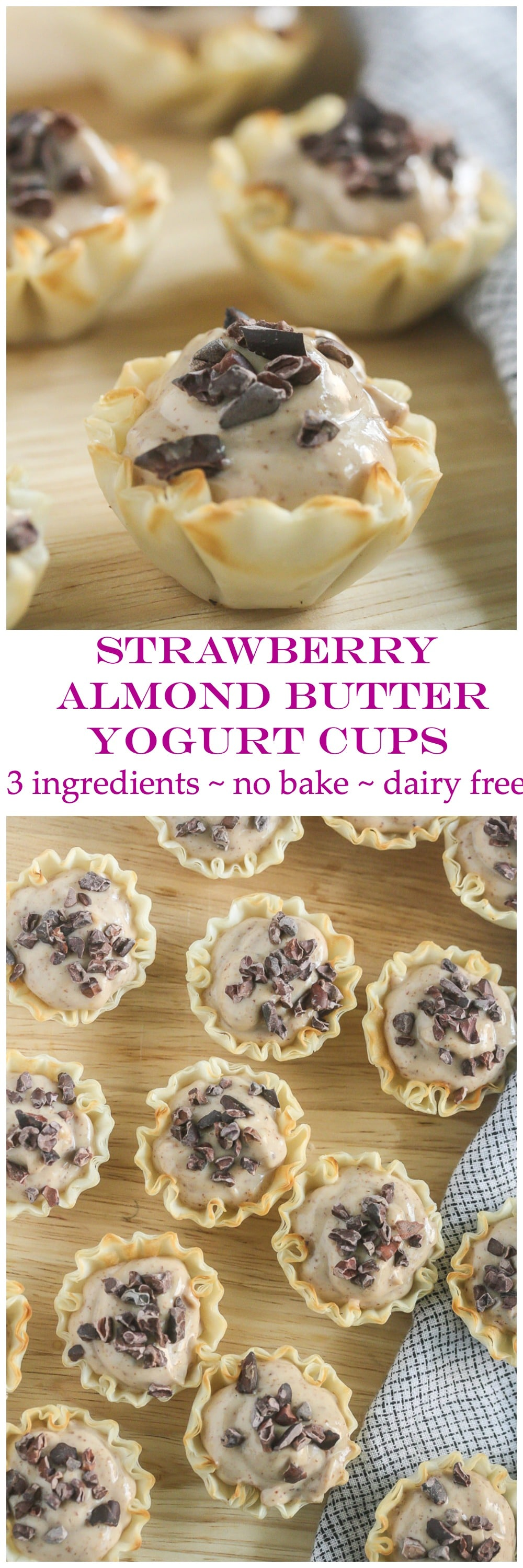 These Strawberry Almond Butter Phyllo Cups contain only 3 ingredients and take 5 minutes to make! #ad #TasteLikeBetter @LoveMySilk