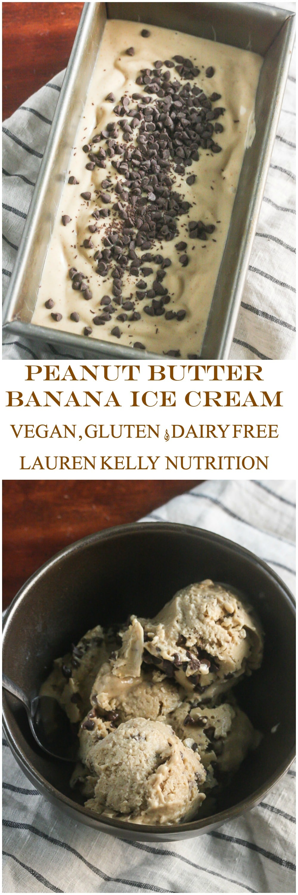 Peanut Butter Banana Chocolate Chip Ice Cream {4 ingredients, V, DF, GF}