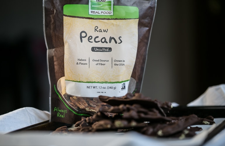 Low Carb Keto Salted Pecan Dark Chocolate Bark from Lauren Kelly Nutrition