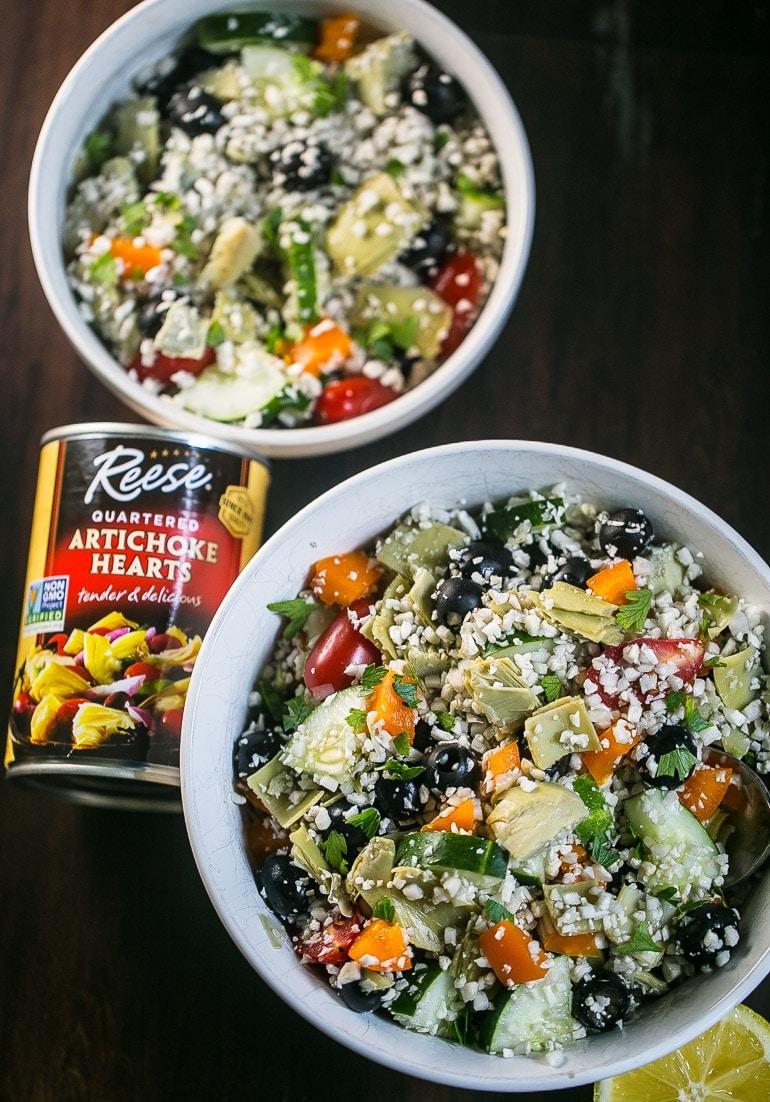 Easy Low Carb Greek Artichoke Cauliflower Rice Salad from Lauren Kelly Nutrition #keto #lowcarb