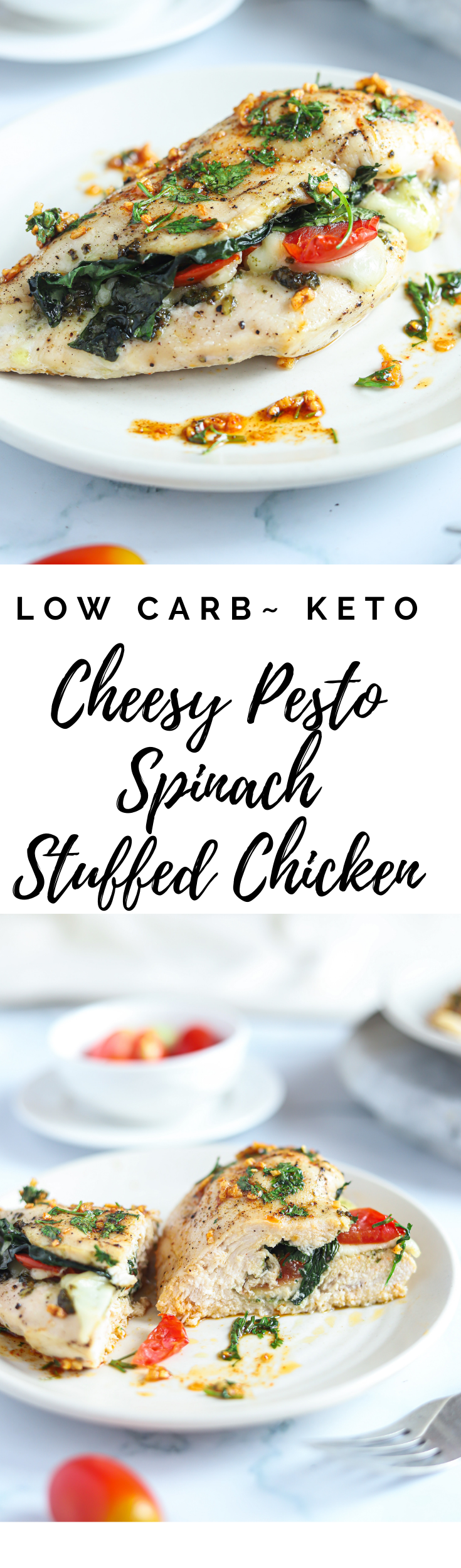 These Cheesy Pesto Spinach Stuffed Chicken Breasts from Lauren Kelly Nutrition are simple to make, healthy, low carb and delicious!