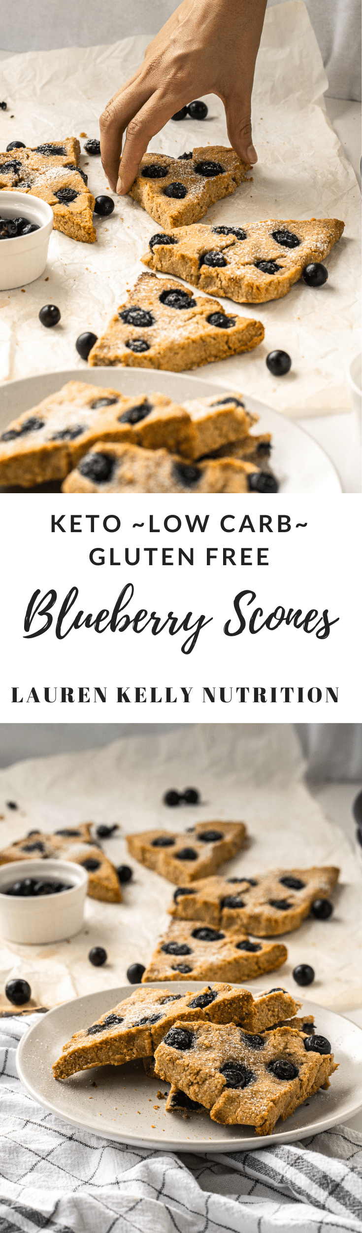 Made with just a few, simple ingredients these delicious Blueberry Scones are gluten free, sugar free, vegan, dairy free, low carb and Keto friendly!