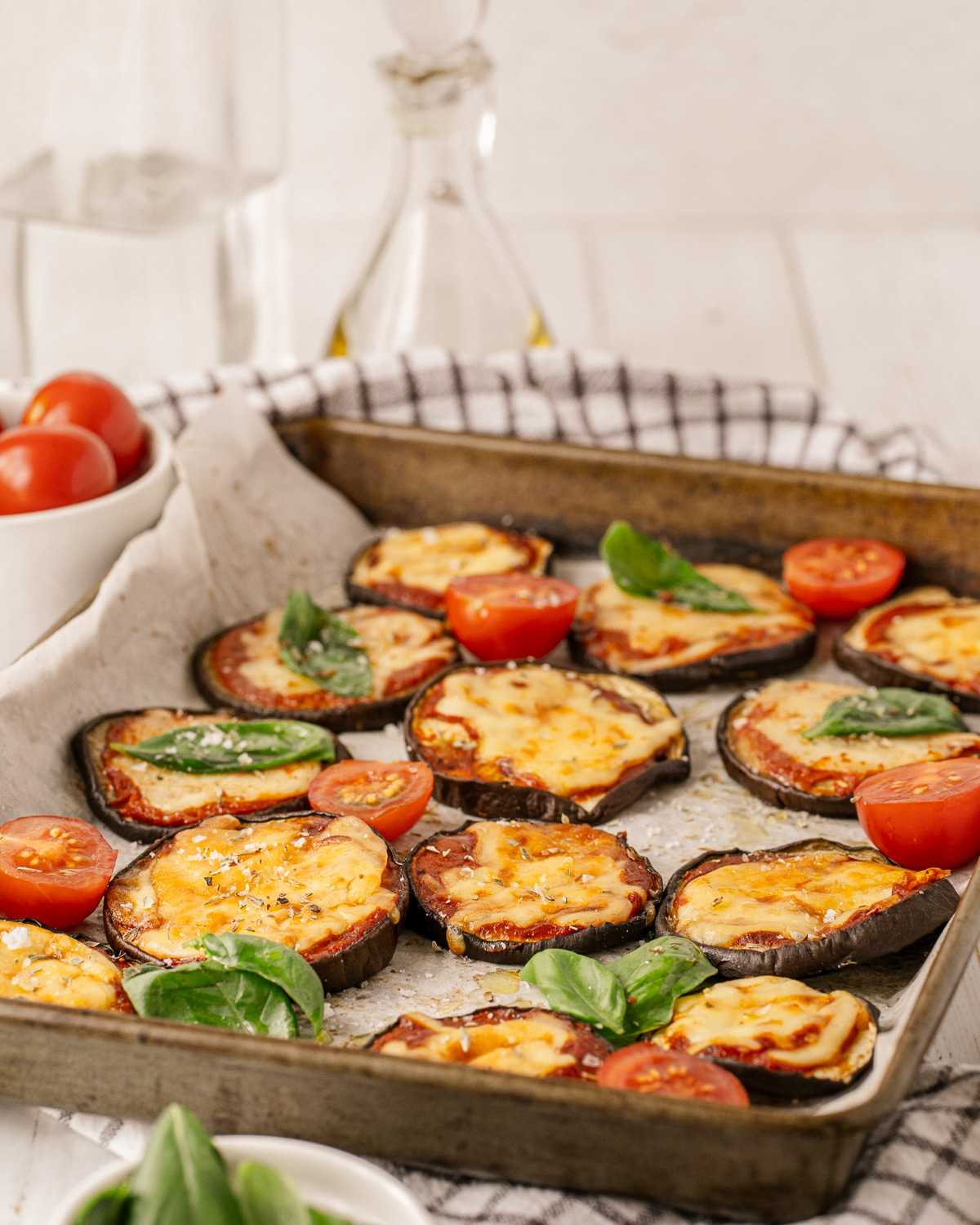 A simple, healthy and delicious way to eat Eggplant Parmesan. Low carb, gluten free and perfect for a busy weeknight!