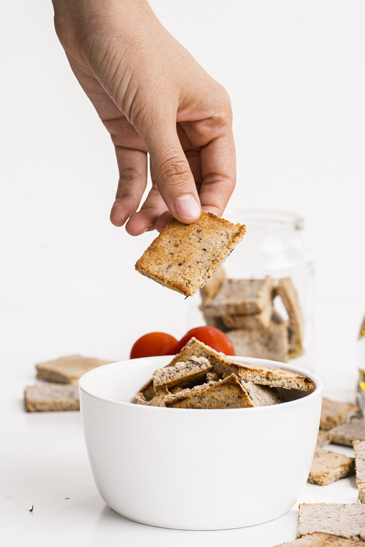 Simple to make, light and crunchy, these Cheesy Almond Flour Crackers make the perfect low carb snack!
