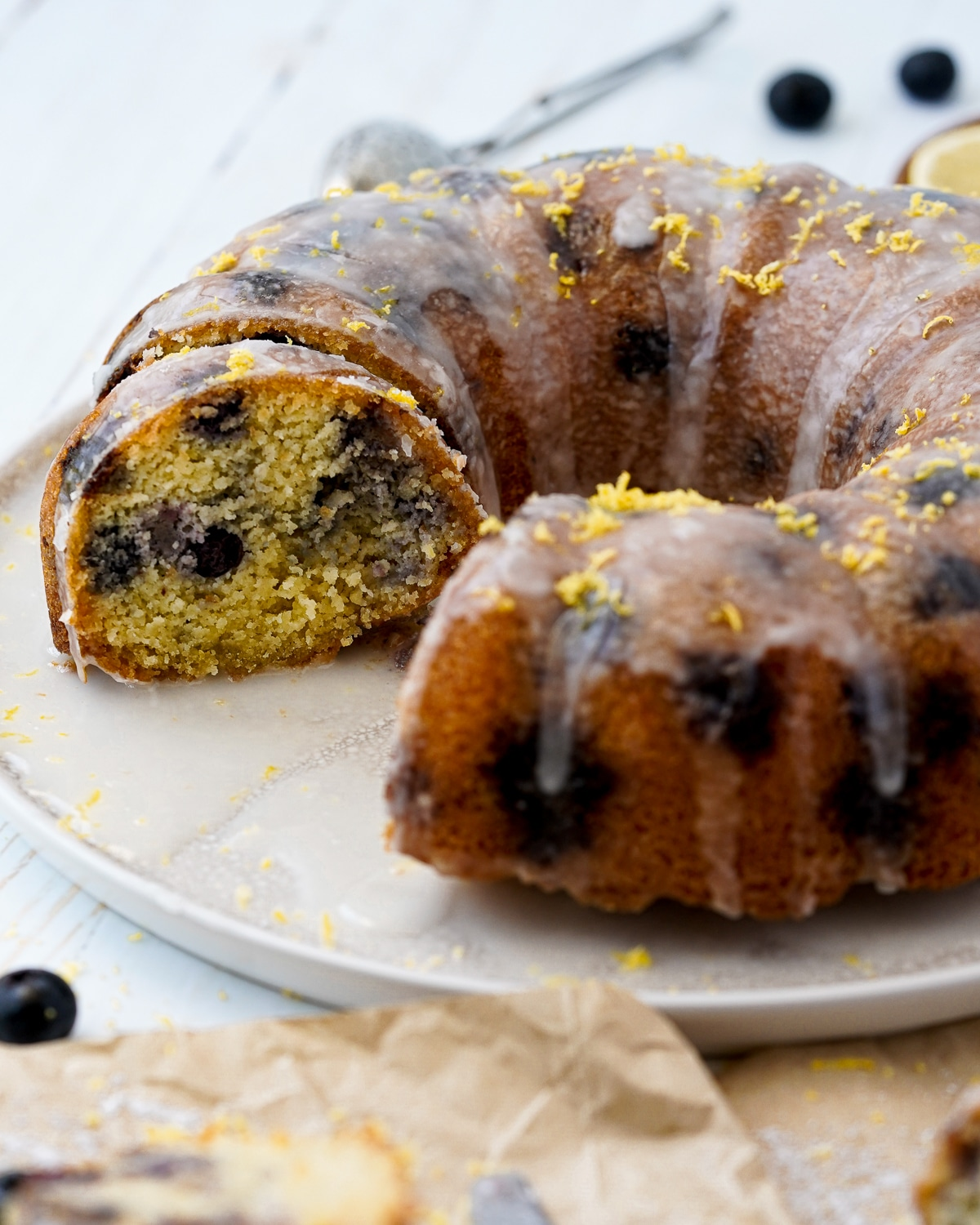 Tender lemon blueberry cake with a wonderfully light lemon glaze, this is low carb, gluten free, sugar free and seriously delicious.